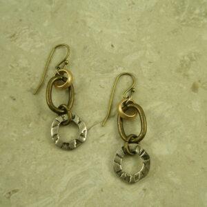 Two Toned Link Drop EarringEasy-0