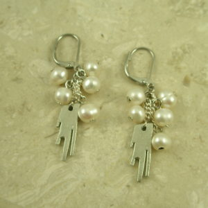 Silver Plated Pearl Dangle Cluster EarringsCharm Surprise-0