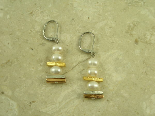 Gold Plated Pearl Dangle EarringPearly White-0