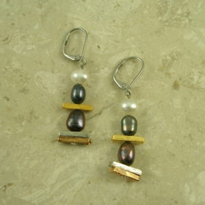 Two toned Pearl Drop EarringThree In A Row-0