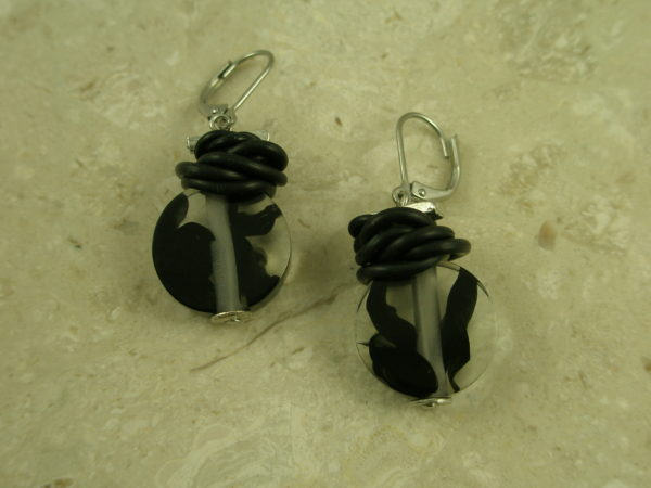 Black Resin Contemporary EarringCloudy-0