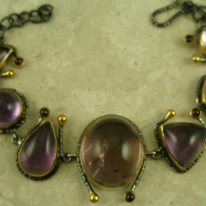 One Of A Kind Amethyst Cabachon Link BraceletMirror Mirror-0