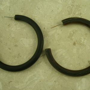 Matte Finish Large Horn Hoop EarringCoffee -0