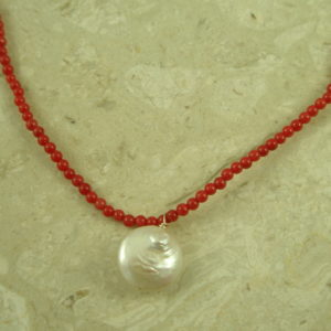 Coral Mini Bead Pearl Choker NecklaceLil' Red-0