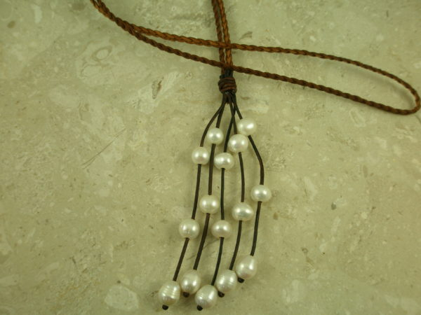 Braided Leather/Multi Pearl Two Way NecklaceRodeo Drive-0