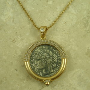 Golden Coin Replica Frame NecklaceFrancaise-0