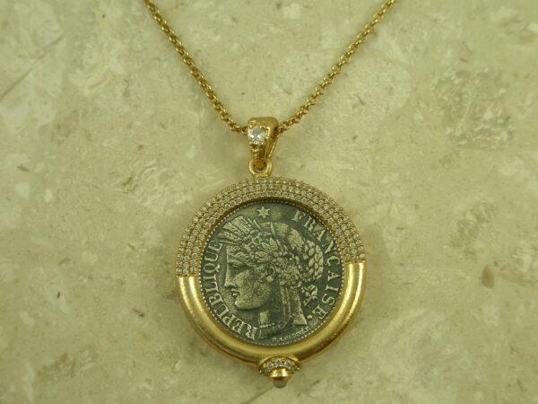 Golden Coin Replica Frame NecklaceFrancaise-0