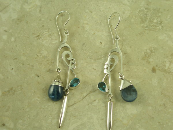 Sterling Silver Two Stone Eclectic Handcrafted EarringMobile-0