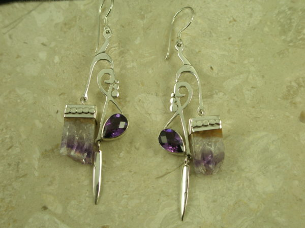 Handcrafted Sterling/Amethyst Eclectic Statement EarringsGallery Stuff-0