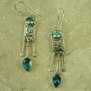 Sterling Silver Blue Topaz Unique EarringDangle Blue-0