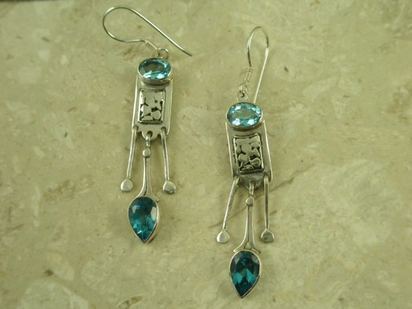 Sterling Silver Blue Topaz Unique EarringDangle Blue-0