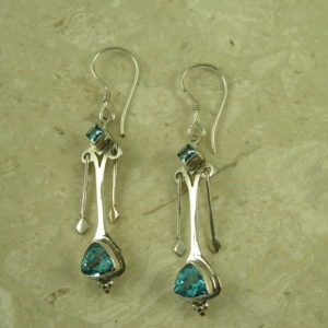 Sterling Silver Blue Topaz Dangle EarringsDouble Dip-0