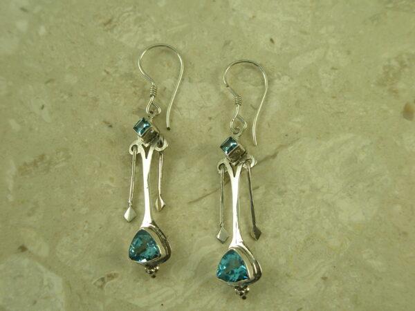 Sterling Silver Blue Topaz Dangle EarringsDouble Dip-0