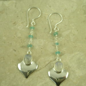 Sterling Silver Stone Dangle EarringsStone Drop-0