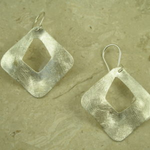 Brushed Finish Sterling Silver Cutout EarringsThe Window-0