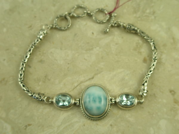 Bali Crafted Sterling/Larimar/Topaz Toggle BraceletToo Blue-0
