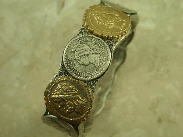 Two Toned Coin Magnetic BraceletLine Them Up-0