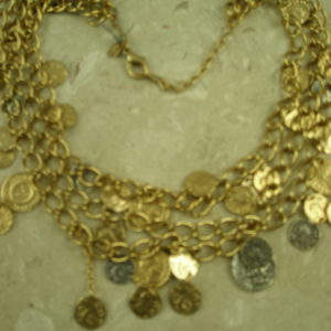 Tiered Roman Coin Golden NecklaceTreasure Chest-0